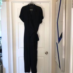 Black tuxedo style wrap jumpsuit